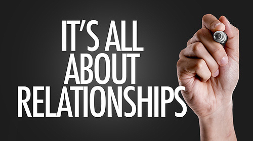 Hand writing the text: Its All About Relationships